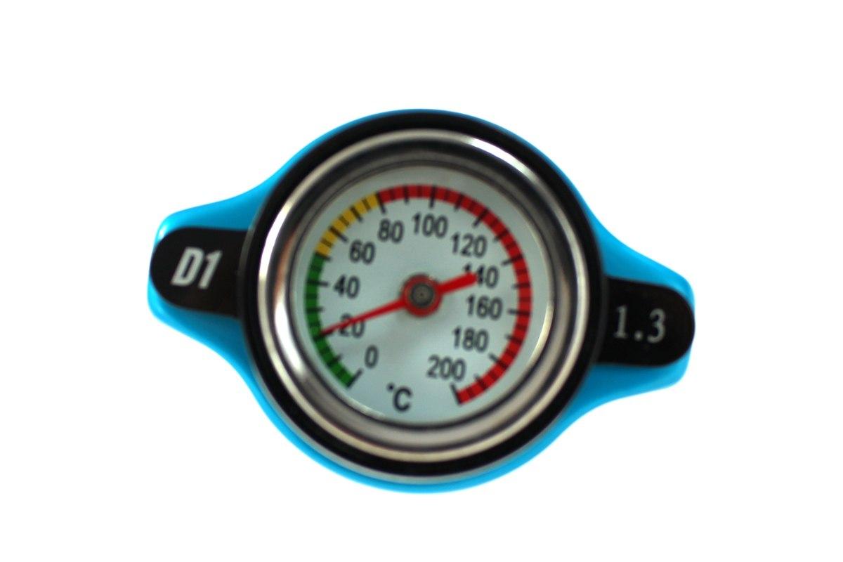 Korek wlewu chłodnicy z termometrem D1Spec 28mm Blue 1.3Bar - GRUBYGARAGE - Sklep Tuningowy